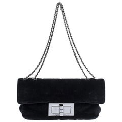 Chanel Black Velvet Reissue Flap Shoulder Bag