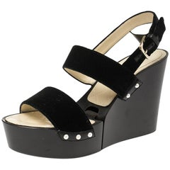 Chanel Black Velvet Slingback Wooden Wedge Platform Sandals Size 39.5