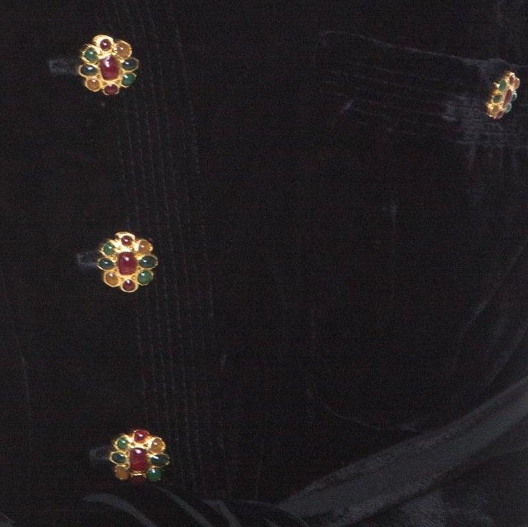 Women's Chanel Black Velvet Stone Button Embellished Short Sleeve Belted Vintage Top M For Sale