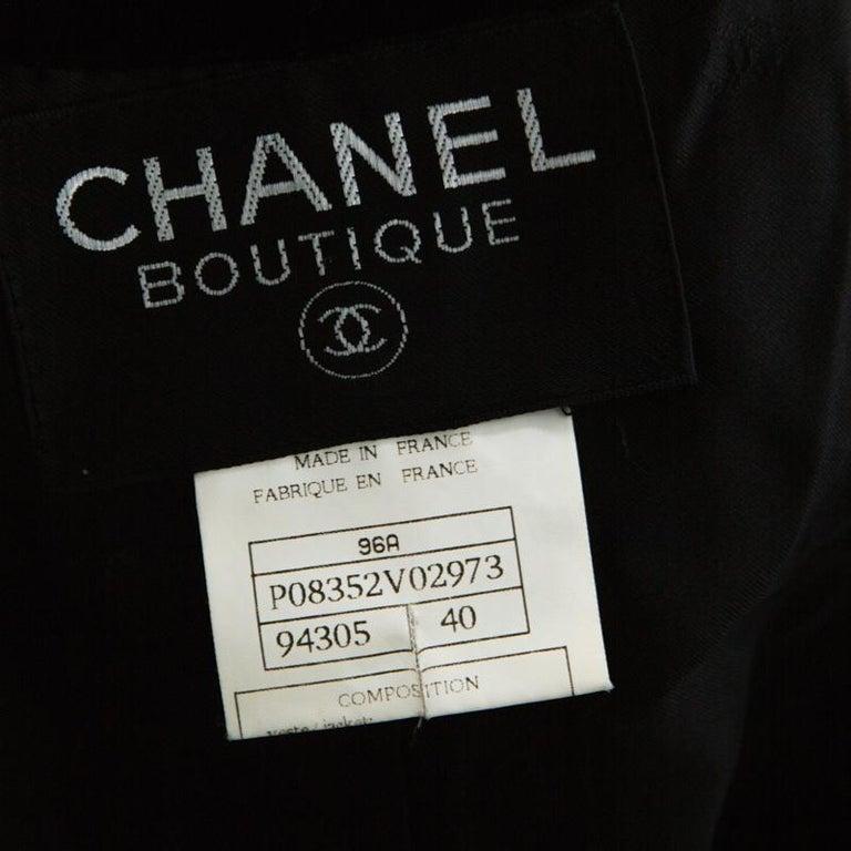 Chanel Black Velvet Stone Button Embellished Short Sleeve Belted Vintage Top M For Sale 2