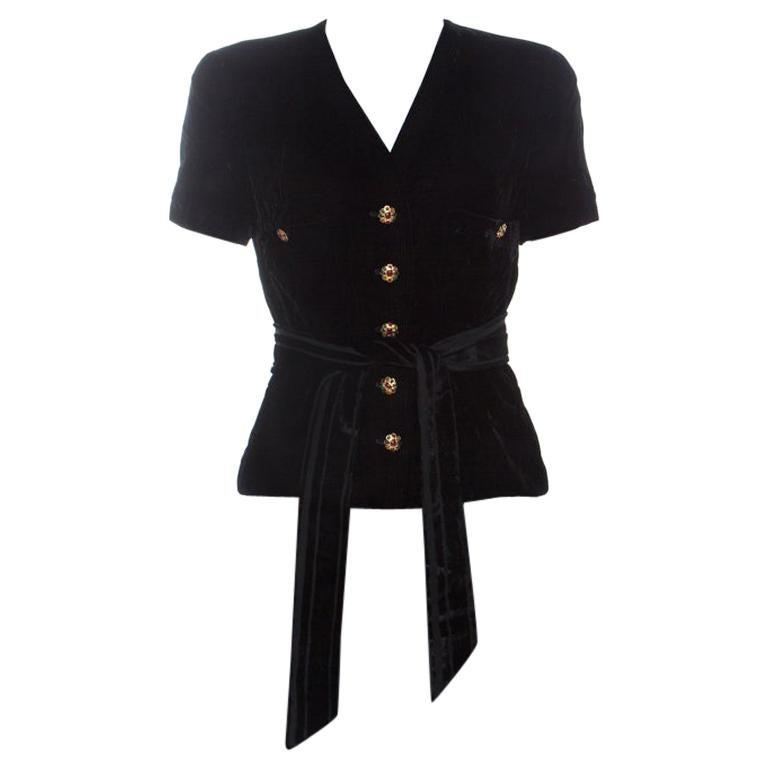 Chanel Black Velvet Stone Button Embellished Short Sleeve Belted Vintage Top M For Sale
