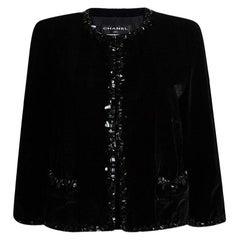 Chanel Black Velvet Trim Embellished Boucle Jacket XXL