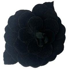 Chanel Black Velvet XL Camellia Brooch