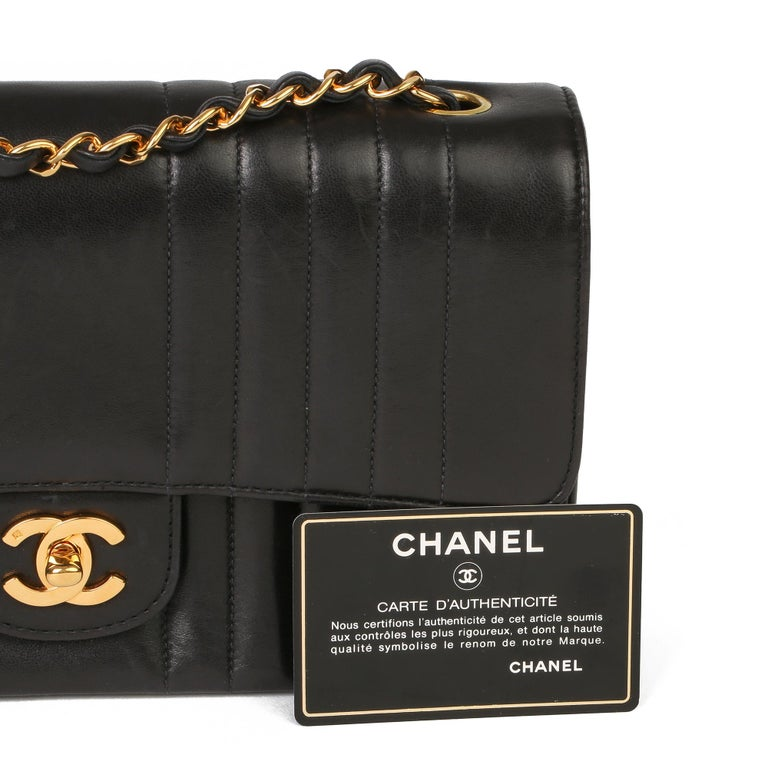 Chanel Black Vertical Quilted Lambskin Vintage Classic Single Flap Bag For Sale 7