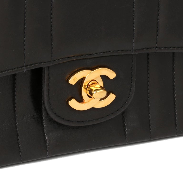 Chanel Black Vertical Quilted Lambskin Vintage Classic Single Flap Bag For Sale 2