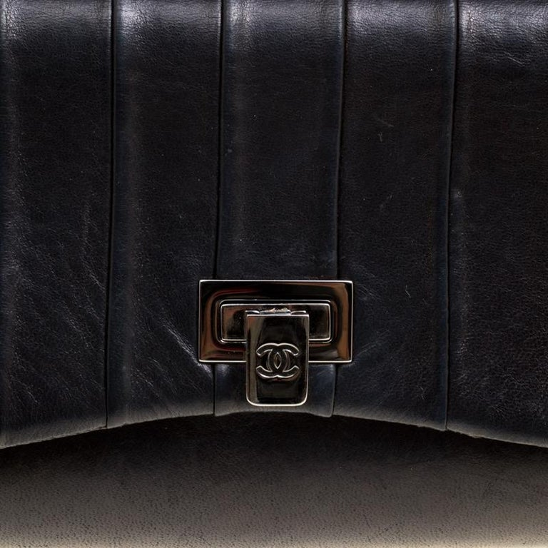 Chanel Black Vertical Quilted Leather Accordion Flap Bag For Sale 7