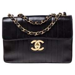 Chanel Black Vertical Quilted Leather Jumbo Classic Flap Bag