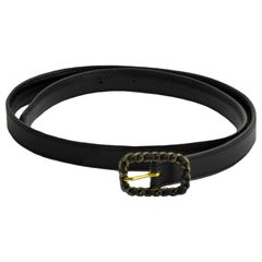 CHANEL Black Vintage Black Leather Belt Size 65