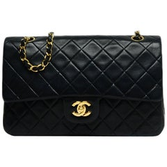 Chanel Black Vintage Lambskin Leather Medium Double Classic Flap Bag rt $5,600
