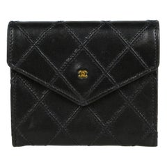 Chanel Black Vintage Lambskin Leather Quilted Card Case Wallet