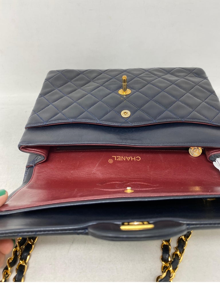 Chanel Black Vintage Large Double Flap  For Sale 8