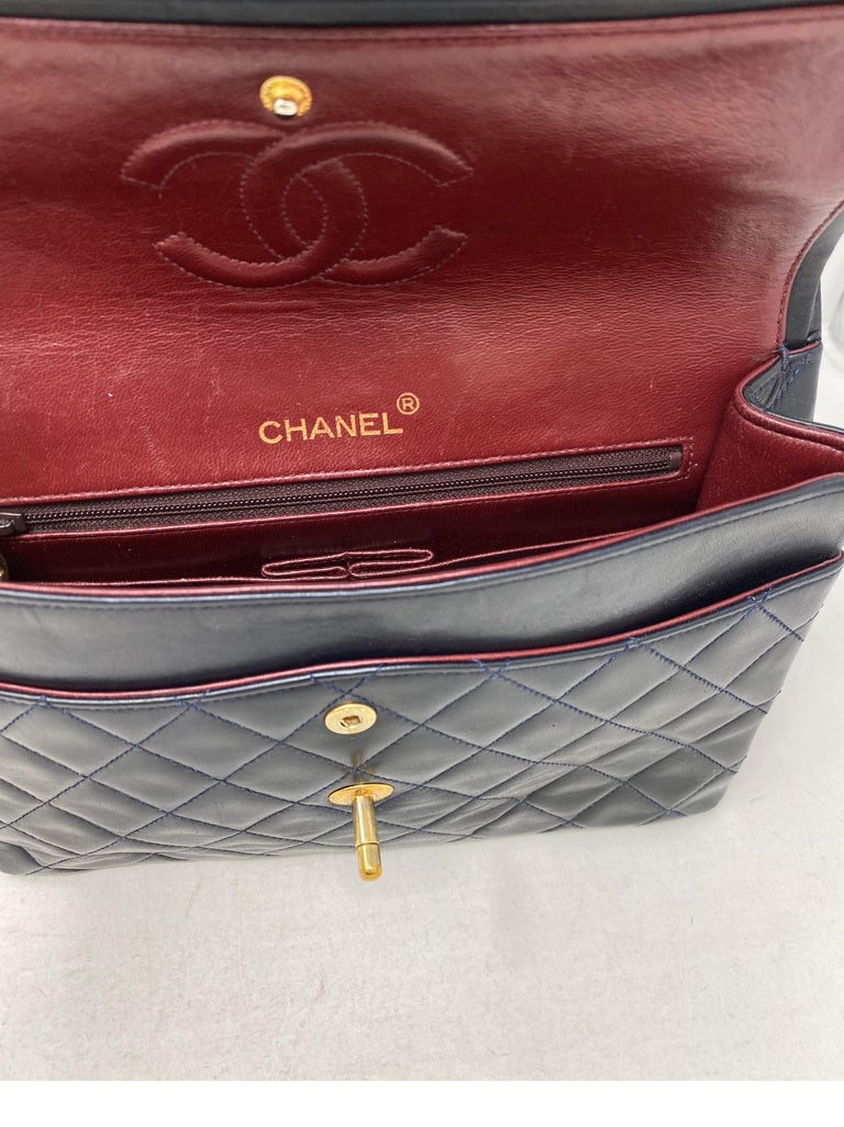 Chanel Black Vintage Large Double Flap  For Sale 12