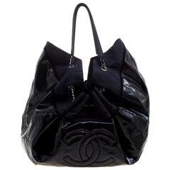 Chanel Black Vinyl Large Stretch Spirit Cabas Hobo