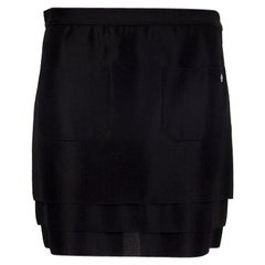 CHANEL black viscose LAYERE MINI WITH POCKETS Skirt 38 S