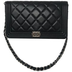 Chanel Black Wallet on Removeable Short Chain WOC