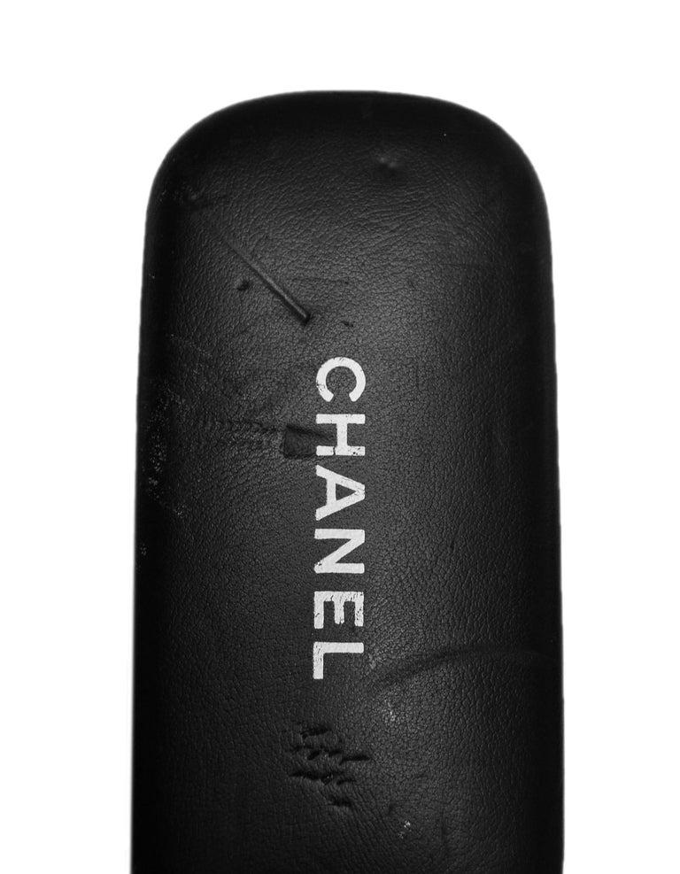 Chanel Black/White Acetate Scalloped Round Sunglasses For Sale 6