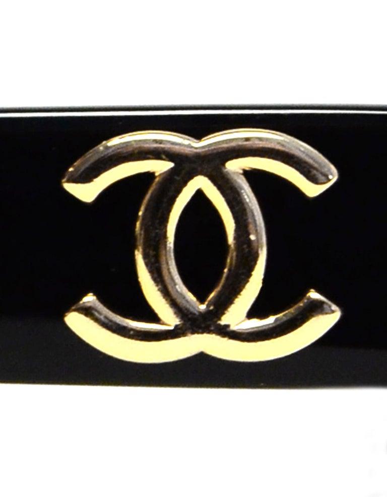 Chanel Black/White Acetate Scalloped Round Sunglasses For Sale 2