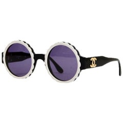 Chanel Black/White Acetate Scalloped Round Sunglasses