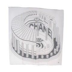 Chanel Black & White Architectural Print Silk Scarf 135cm