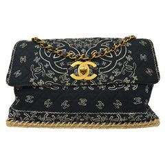 Chanel Black White Bandana Cloth Jute Gold CC Large Evening Shoulder Flap Bag