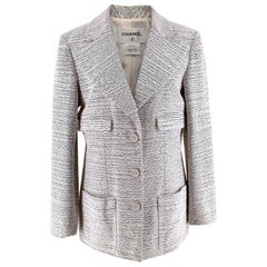 Chanel Black & White Boucle Textured Tailored Longline Jacket - Size US 12