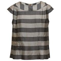 Chanel Black & White Boutique Silk Striped Top