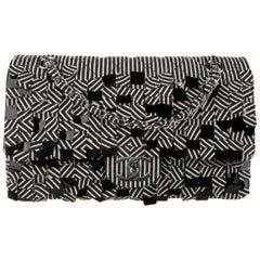 Chanel Black White Canvas Sequin Medium Evening Shoulder Flap Bag