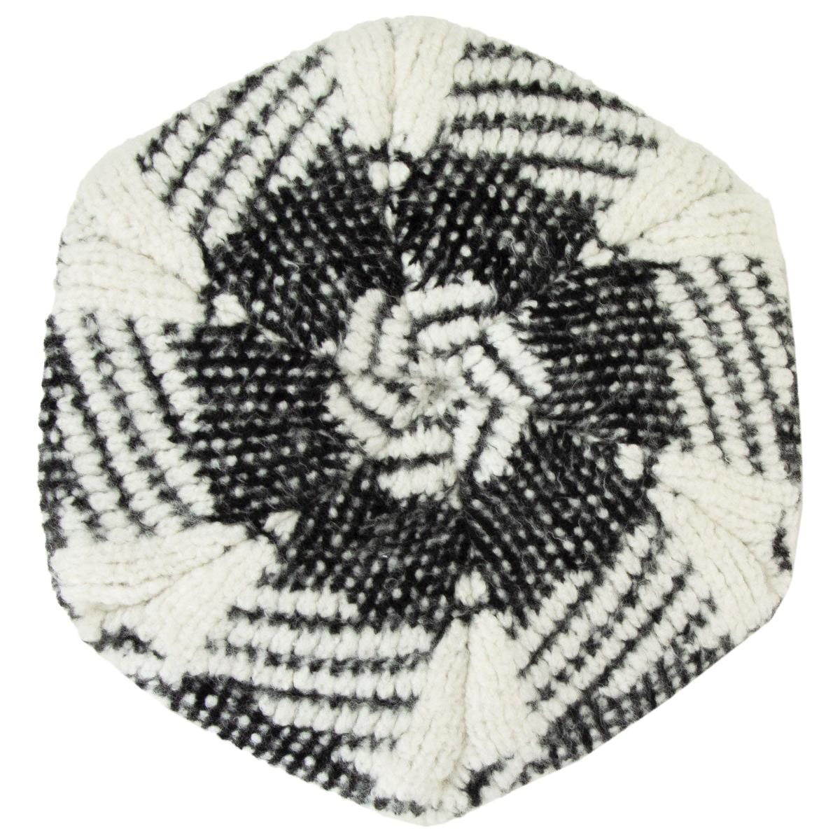 CHANEL black & white cashmere blend KNIT BERET Hat M