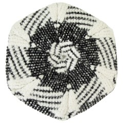 CHANEL black & white cashmere blend KNIT BERET Hat M
