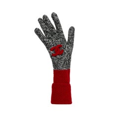 Chanel Black/White Cashmere Knit Gloves w/ Red Trim & Puffy CC Detail sz S/M