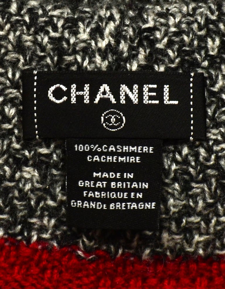 Chanel Black & White Cashmere Knit Hat/Scarf/Gloves w/ Red Trim & CC For Sale 8