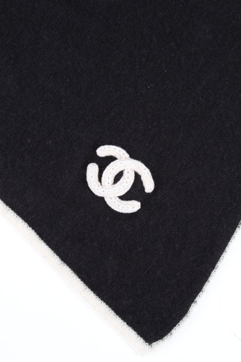 Women's or Men's Chanel Black White CC Logo Cashmere Scarf XXL For Sale