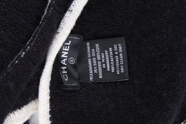 Chanel Black White CC Logo Cashmere Scarf XXL For Sale 1