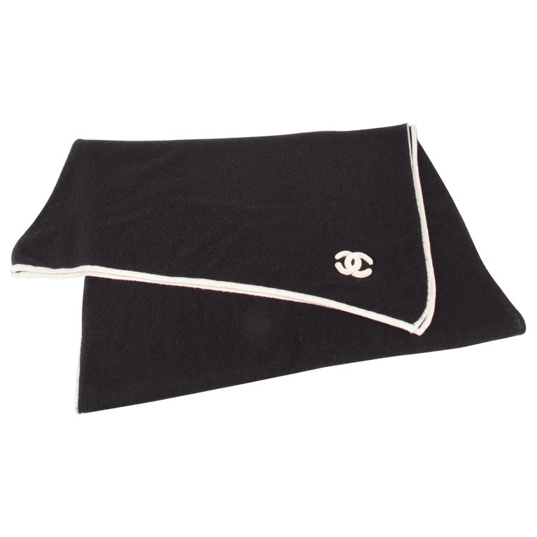 Chanel Black White CC Logo Cashmere Scarf XXL For Sale
