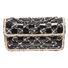 Chanel Black White Checkered Patent Leather Tweed Shoulder Flap Bag