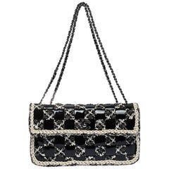 Chanel Black/White Chessboard Tweed and Patent Leather Classic Flap Bag
