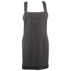 Chanel Black & White Cotton Blend SHEATH DRESS Sleeveless SIZE 38