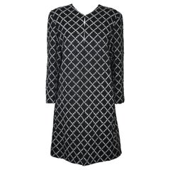 Chanel Black & White Diamond Pattern Stitched Wool Coat