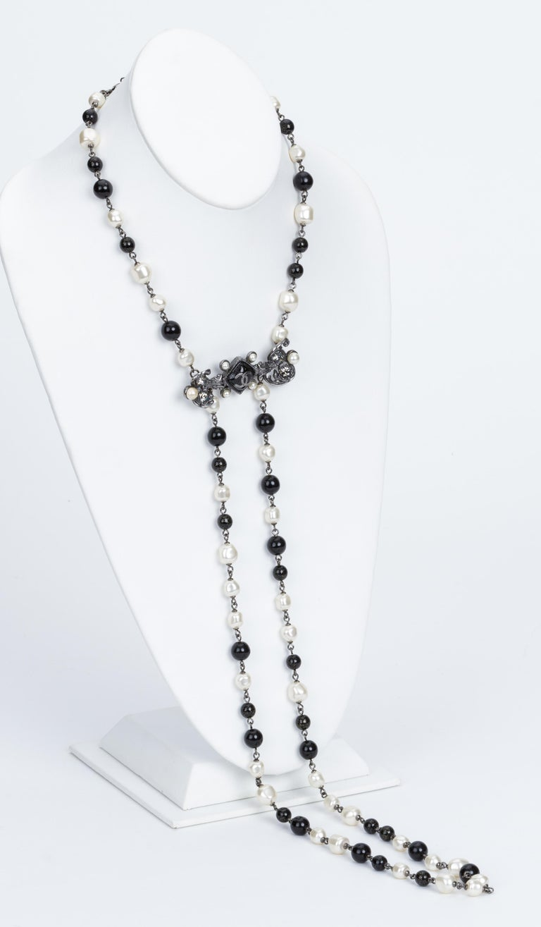 Chanel Black & White Drop Pearl Bead Necklace 2