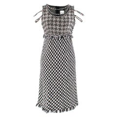 Chanel Black & White Houndstooth Tweed Dress SIZE 36