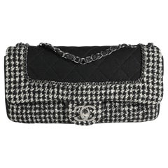 Chanel Black & White Jersey and Houndstooth Boucle Single Flap Bag