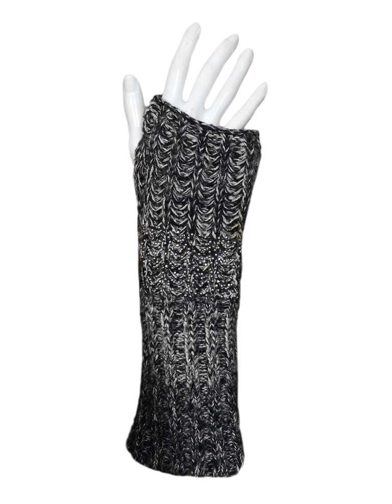 44a65ca7b1 Chanel Black/White Knit Cashmere/Silk/Wool Fingerless Gloves W/ Crystal Sz L
