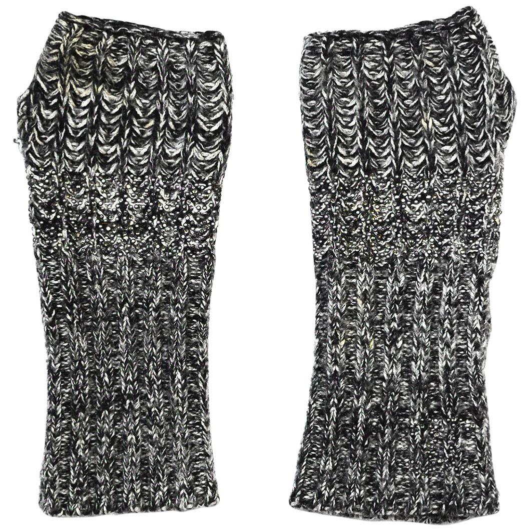 Chanel Black/White Knit Cashmere/Silk/Wool Fingerless Gloves W/ Crystal Sz L