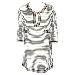 Chanel Black & White Knit Tunic Trimmed With Multi Color Beads