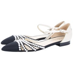 Chanel black/white leather faux pearl Paris-Rome d'Orsay flats