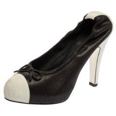Chanel Black/white Leather Scrunch String Bow Detail Cap Toe Pumps Size 39