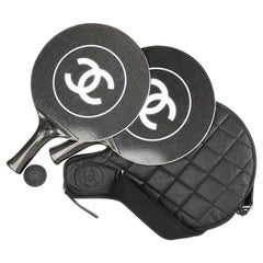 Chanel Black White Logo Men's Women's Novelty Game Ping Pong Racquets Ball Case