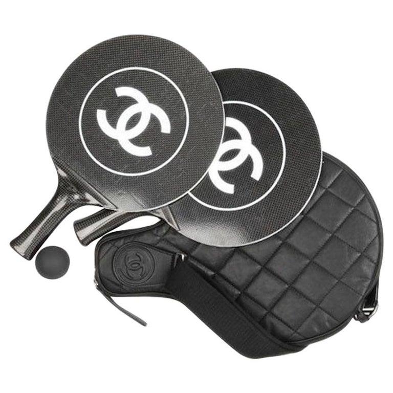 Chanel Black White Logo Men's Women's Novelty Game Ping Pong Racquets Ball Case For Sale