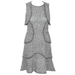 Chanel Black & White Multi Tier Tweed Sleeveless Flouncy Hem Dress