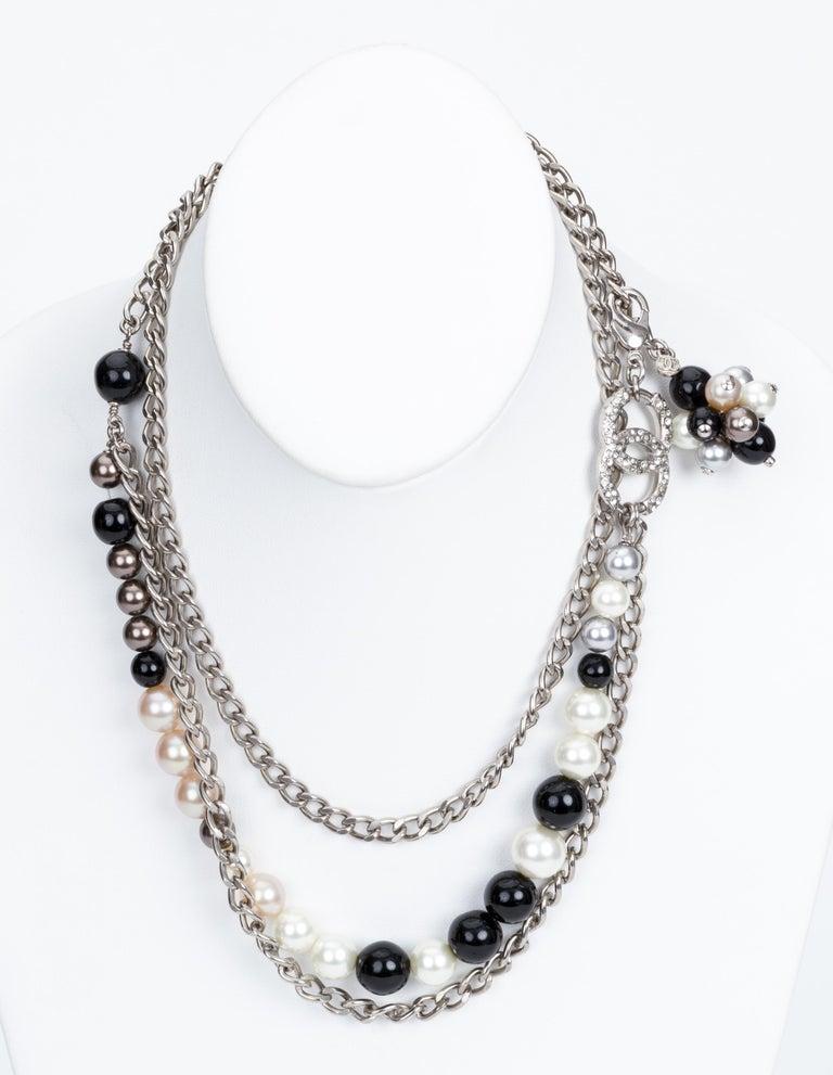 Chanel Black & White Pearl Necklace Belt 4